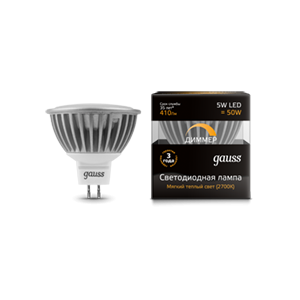 Лампа Gauss LED MR16 5W SMD AC220-240V 2700K  диммируемая